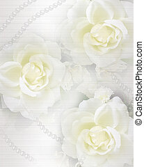 Image and illustration composition of white roses and pearls elegant floral background for wedding invitation, engagement, formal announcement or greeting card copy space