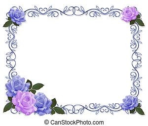 Wedding invitation Blue and Lavender - Blue, lavender roses...
