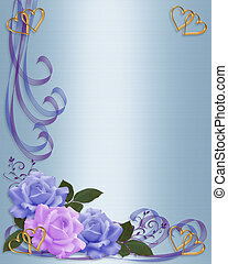 Wedding invitation Blue and Lavender