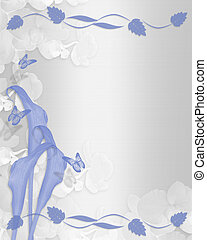 Wedding invitation Blue calla lily floral border