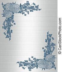 Wedding invitation blue flowers