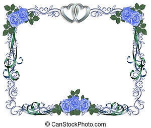 Wedding Invitation Border blue rose