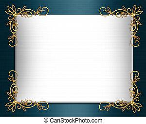 Wedding invitation border Elegant satin - Illustration...
