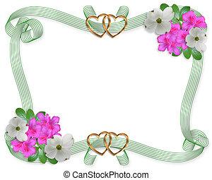 Wedding invitation border flowers and ribbons - Pink azalea...