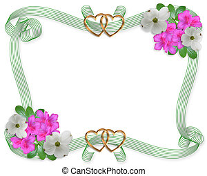 Wedding invitation border flowers and ribbons