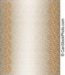Wedding invitation border gold
