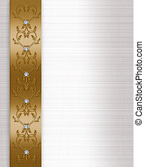 Wedding invitation border gold - Image and illustration...