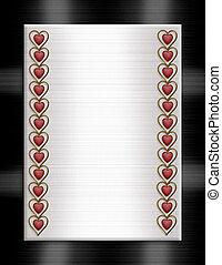 Wedding invitation border hearts