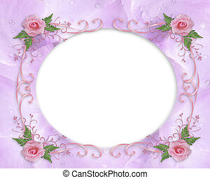 Wedding invitation border pink rose