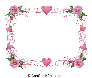 Wedding invitation border pink rose