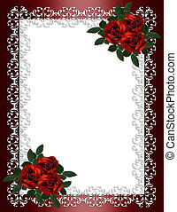 Image and illustration composition 3 dimensional ornamental frame, red roses on burgundy satin for Valentines day greeting card, border, wedding, engagement party invitation or background with copy space.