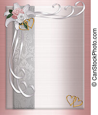 Image and illustration composition pink roses and ribbons on satin background for wedding invitation, Valentine, anniversary party template, border or frame with copy space.