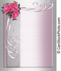 Wedding Invitation Border Satin roses - Image and...