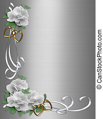 Wedding Invitation Border White Ros - Image and illustration...