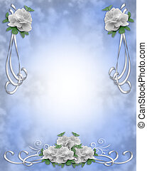 Wedding Invitation Border White Ros