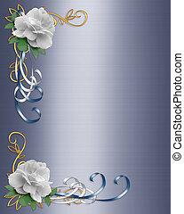 Wedding Invitation Border White Ros