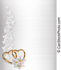 Wedding Invitation Border Pink 3d Illustrated Gold Hearts And