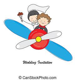 wedding invitation. Boyfriends by plane to their honeymoon