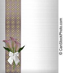 Wedding invitation call lilies white satin