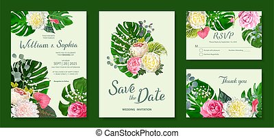Wedding invitation card template. Floral design with blooming flowers of pink and light yellow peonies, lovely roses and Anthuriums buds. Green leaves of Monstera, eucalyptus and tender gypsophila