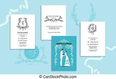 Wedding invitation card blue