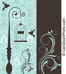 wedding invitation card - blue swirly invitation card