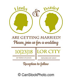 Wedding Invitation Card - Bride and Groom Silhouttes - in...