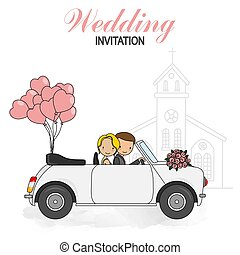Wedding invitation card. Bride and groom in wedding car.