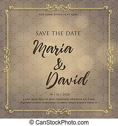 wedding invitation card design with decorative elements