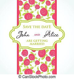 Wedding invitation card design with multicolored drops , floral elements.