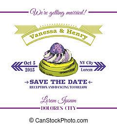 Wedding Invitation Card - Dessert Cake Theme - in vector