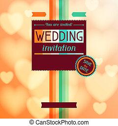 Wedding invitation card in retro style.