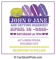 Wedding Invitation Card - Macaroon Theme - in vector