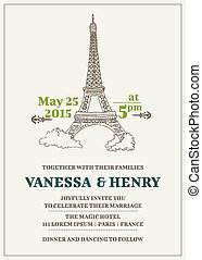 Wedding Invitation Card - Paris Theme - in vector