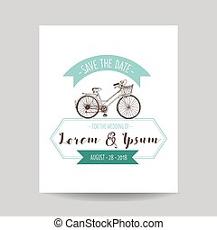 Wedding Invitation Card - Save the Date - Bicycle Theme - in vector