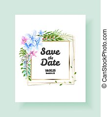 Wedding Invitation card, save the date, thank you, rsvp template. Vector watercolor flowers, lily, Ivy plants.
