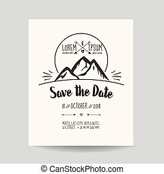 Wedding Invitation Card - Save the Date - with Mountain - in vector