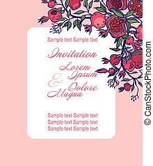 wedding invitation card suite with pomgranates. vector illustration