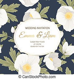 Wedding invitation card template anemone hellebore