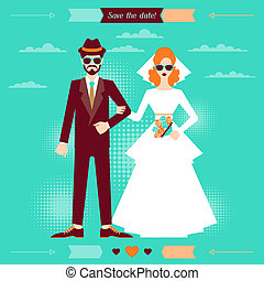 Wedding invitation card template in retro style.