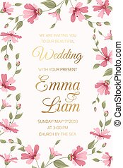 Wedding invitation card template pink gypsophila - Wedding ...