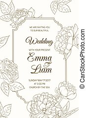 Wedding invitation card template rose peony flower
