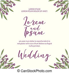 wedding Invitation card template with flowers patterned