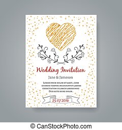Wedding invitation card template with hand drawn flowers and heart