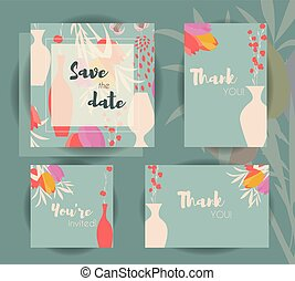 Wedding invitation card templates, wedding set with floral seamless pattern