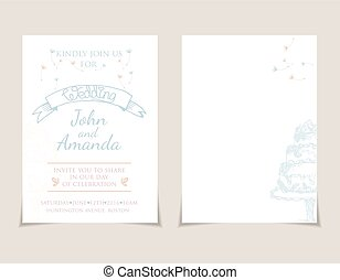 Wedding invitation card templates with hand drawn cake .Vector