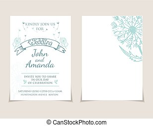 Wedding invitation card templates with hand drawn dandelion .Vector