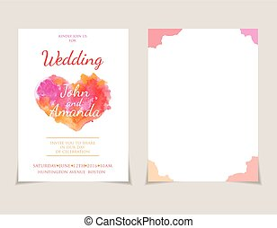 Wedding invitation card templates with watercolor elements .Vector