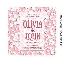 Wedding invitation card. Vector invitation card with sakura...