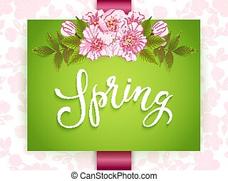 Wedding invitation card. Vector invitation card with floral background and elegant frame with text. Spring typography.